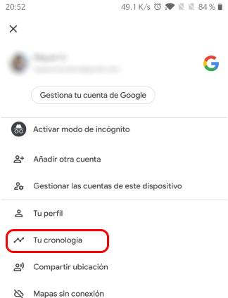 activar cronologia en google maps