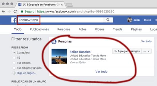 buscar telefono en facebook