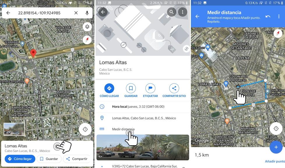medir distancia en el telefono con google maps