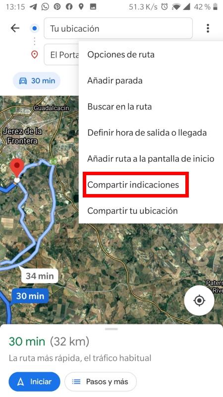 compartir la indicación de la ruta