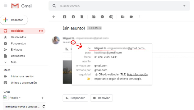 Ver identidad de que envia un correo por gmail